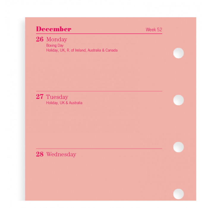 Week On Two Pages Diary Mini Pink